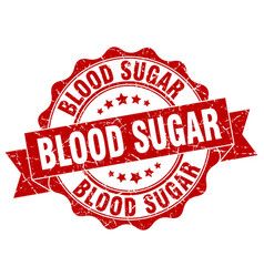 Blood sugar stamp sign seal vector