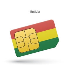 Bolivia mobile phone sim card with flag vector image