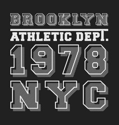 Brooklyn nyc t-shirt print for applique badge vector