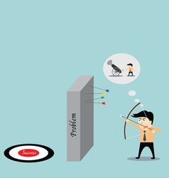 businessman aiming at success job with bow and arr vector image