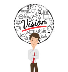 businessman thinking about business vision vector image