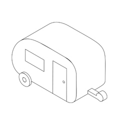 Camping trailer icon isometric 3d style vector