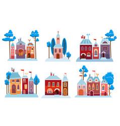 cartoon christmas houses set snow winter city vector image