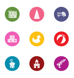 Children toy icons set flat style vector