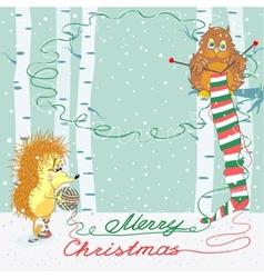 Christmas card with an owl and hedgehog vector image