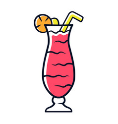Cocktail in hurricane glass red color icon vector