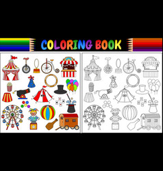 coloring book with amusement park icons set vector image