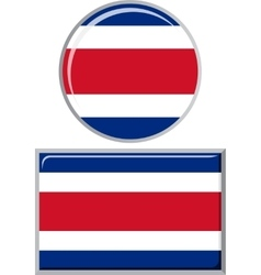 Costa Rican round and square icon flag vector