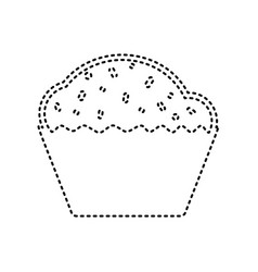 Cupcake sign black dashed icon on white vector
