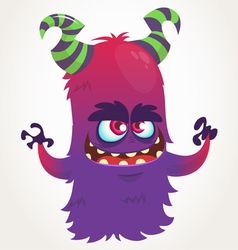 Cute cartoon purple horned monster vector image