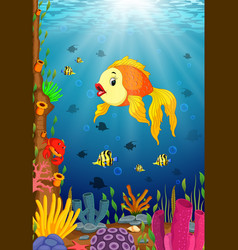 cute fish cartoon in the sea vector image