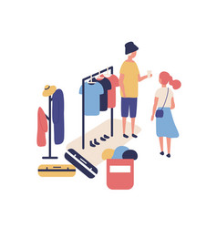cute funny people selling and buying stylish vector image