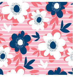 decorative flower and stripes in summer colors vector image