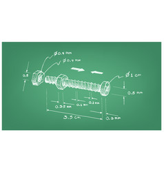 Dimension of nut and screw on blueprint vector