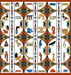 Egypt colorful ornament with hieroglyphs vector