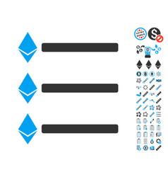 ethereum list icon with bonus symbols vector image