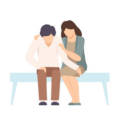 Faceless woman sitting on bench beside man and vector
