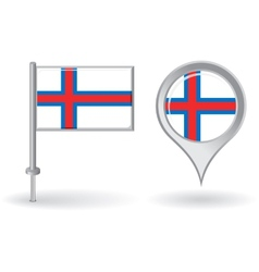 Faroe Islands pin icon and map pointer flag vector
