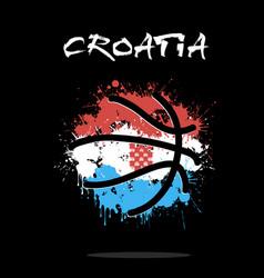 flag of croatia as an abstract basketball ball vector image