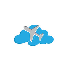 flying plane in sky across clouds vector image