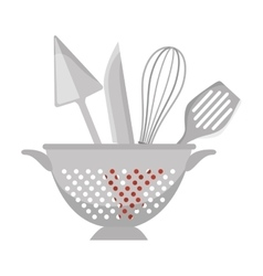 Fried pot with cutlery kitchen tool isolated icon vector