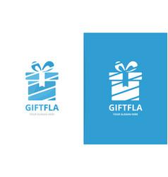 gift and giftbox logo combination present vector image
