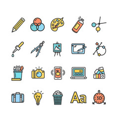 Graphic design signs color thin line icon set vector