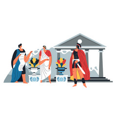 greek or roman soldier and citizen in ancient city vector image