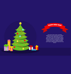 greeting card with a green christmas tree and new vector image