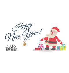 greeting card with cute santa and gifts vector image