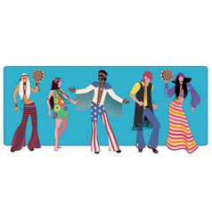 group five wearing hippie clothes 60s vector image