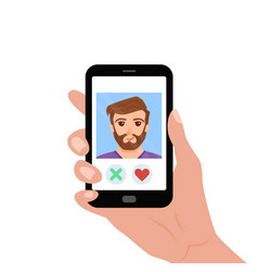 hand holding phone with guy on the screen vector image