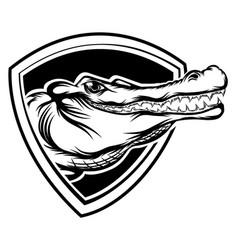 Head crocodile out hole for tattoo vector