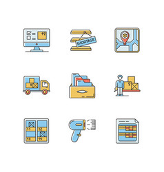 Inventory control and bookkeeping rgb color icons vector