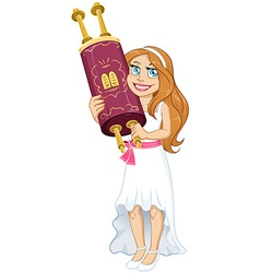 Jewish Girl Holds Torah For Bat Mitzvah vector