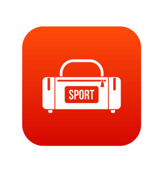 large sports bag icon digital red vector image