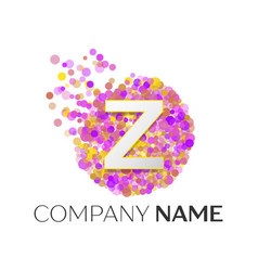 Letter z logo with purle particles and bubble dots vector