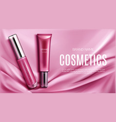 Lip gloss liquid lipstick tubes top view banner vector