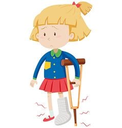 Little girl with broken leg vector image