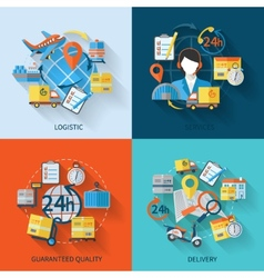 Logistic icons set flat vector image