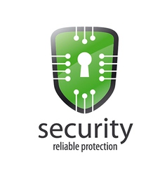 Logo shield with chips and lock vector