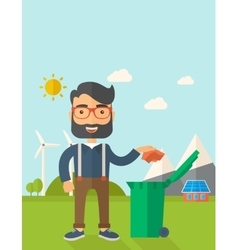 Man throwing paper in a garbage bin vector