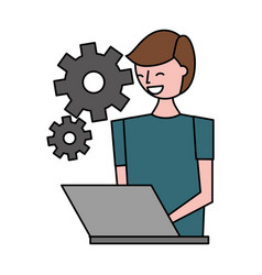 Man using laptop settings gears vector
