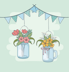Mason jars with flower hanging in garlands vector