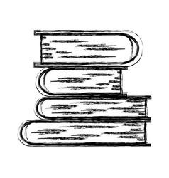 Monochrome blurred silhouette of stack of books vector