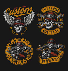 motorcycle vintage colorful emblems vector image