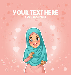 muslim woman happy holding her hijab vector image