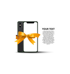 new real flat modern smartphone with ribbon vector image