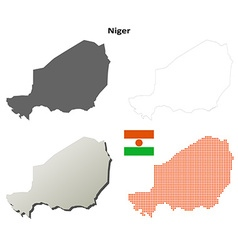 Niger outline map set vector