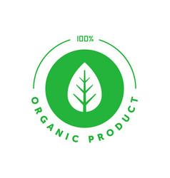 Organic product 100 percent green circle sticker vector